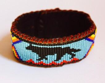 Walking on Fire, Wolf Beaded Bracelet Cuff on Deer Hide, Native American Inspired, Spirit Medicine