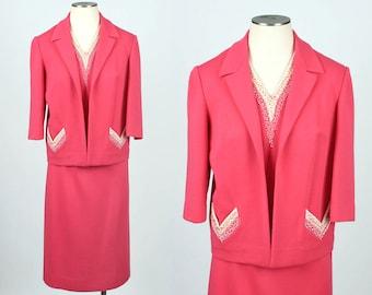 vintage knit set • 1960s beaded bright pink sweater set suit