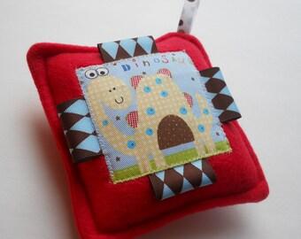 "Dinosaur Softie  Toy, Sensory Learning Toy, Ribbon Tag  Puffers - Boy  Baby Shower Gift - ""Cute Dinosaur"""
