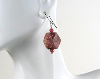 Jasper chunky nuggets earrings pink earthy tones leopard skin jasper