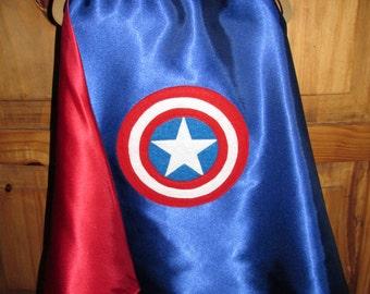Captain America Superhero Cape / Super Hero Cape / Childrens Cape / Authentic Captain America Cape / Reversible Cape