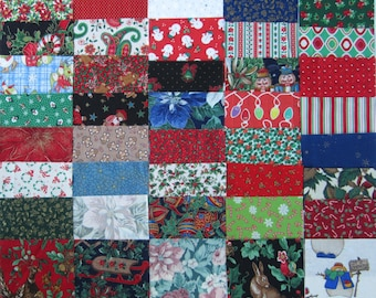 40 Assorted 4 inch Squares of Christmas Holidays Fabrics for Quilting and Sewing Set 1