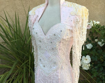 1970s 1980s pink lace high collar sweetheart neckline bridal wedding beaded dress size xs