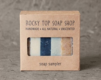Exfoliating Soap Sampler - All Natural Soap, Handmade Soap, Cold Process Soap, Unscented Soap, Vegan Soap, Exfoliating Soap