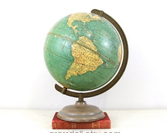 """1940s Crams 10.5"""" Universal Terrestrial Globe with Metal Stand / Made in USA , Item No.1534"""