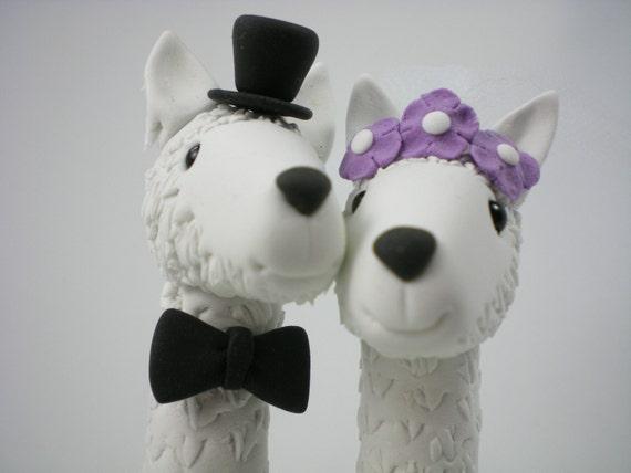 Custom Wedding Cake Topper--Happy Llama Love with Clay Grass Base