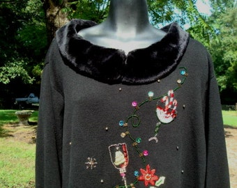 Ugly Christmas Sweater Cocktails Poinsettia Sequins Beads Detachable Faux Fur Collar Size 2X Bust 48 - 50 Plus Size Christmas Sweater