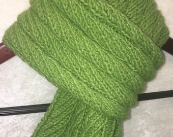 Green Scarf, Lime Scarf, Sparkle Scarf, Soft Scarf, Glimmer Scarf, Gift For Her, Hand Knit Scarf, KnitWittyKnots