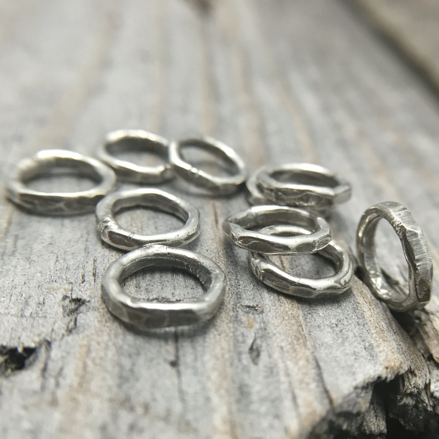 sterling silver hammered jump ring rustic jewelry findings