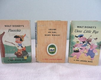 A Tiny Golden Book, Walt Disney's Pinocchio and The Three Little Pigs, and, Shame on You Baby Whale