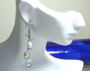SHOP CLOSING SALE: Ashira Sterling Silver Dangly Freshwater Cultured Pearls, Swarovski Crystal, Aqua Blue Crystal Earrings
