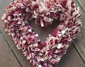 Heart Rag Wreath, Primitive Heart Wreath, Primitive Country Rustic Decor, Handmade in NJ