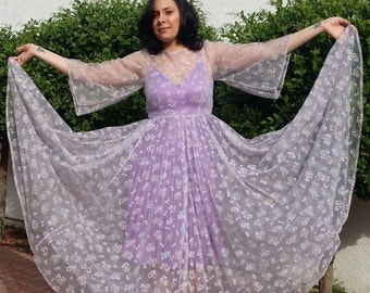 romantic floral faerie maxi dress barefoot wedding gown chenille velvet chiffon overdress fairy butterfly sleeves huge sweep boho hippie