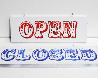 2 Wood Handpainted Open & Close Door Signs, Hanging Shop Plaques, Red White Blue