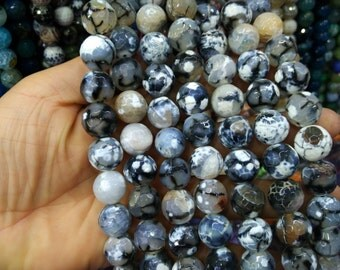 2 str -Gray White Black Veins Agate 14mm Round ball beads -28pcs/strand