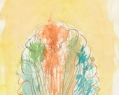 Souls joining in an aura of light #2 by Ina Mar, pencil and watercolor original art brut drawing