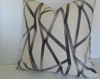 BOTH SIDES / Graphic Grey and Creamy White Pillow Cover / Lumbar / Gray Geometric Pillow / 16x16 / 18x18 20x20 22x22 24x24 26x26