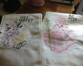Vintage Bo Peep & Miss Muffet Embroidered Flour Sack Kitchen Towels