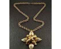 Grand Silver & Gold Finish Maltese Cross Brooch Pin/ Convertible Pendant Necklace