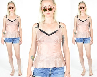 90's NUDE PINK SILKY Tank Top - 1990's Blush Slip Top. Grunge Mod Minmalist. Size S/M Silky Top
