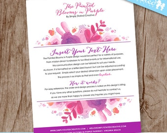 Informational Event Flyer, Communication Design for Business, Non-Profit, Events, Fundraiser - DiY Printable || The Painted Blooms in Purple