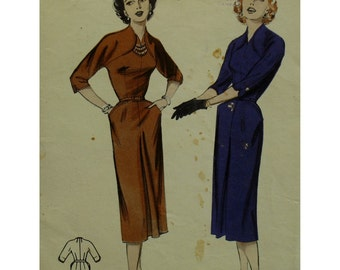 "1950s Sheath Dress Pattern, Curved Shoulder Accents, Fitted Bodice, Straight Skirt, Cut-on Sleeves,Butterick 6702 Size 14 (Bust 32"" 81cm)"