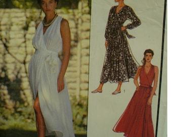 Side Wrap Summer Dress Pattern, Evening Wear, V-neck Bodice, Full Skirt, Long, Sleeveless/long Sleeves, Style No. 1690 Size 8 10 12 14 16