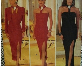 Neck Collar Evening Gown Pattern, Bare Shoulders, Lined, Boned, Fitted, Side Slit, Jessica Howard, Butterick No. 3196 Size 6 8 10 12