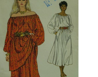 "Peasant Dress Pattern, Off Shoulder Neckline, Long Sleeves, Cuffs, Belted, Tunic, Full Skirt, Vogue No. 8241 Size 6 (Bust 30.5"" 78cm)"
