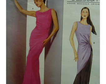 Bellville Sassoon Evening Gown, Side Drape, Fitted, Lined, Slight Train, Scoop Neck, Sleeveless, Vogue No. 2480 UNCUT Size 12 14 16