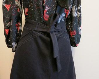 Black Skirt a line vintage with bow Capsule Wardrobe versatile staple S