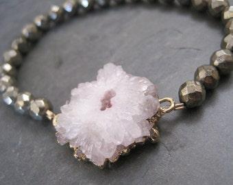 PYRITE  and SOLAR QUARTZ stretchy bracelet