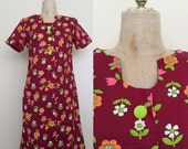 SALE 1970's Flower Power Vintage Shift Scooter Dress