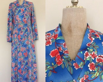 SALE 1970's Blue Floral Polyester Maxi Dress Vintage Floor Length Dress Size Medium by Maeberry Vintage