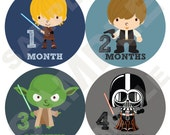 Baby Month Stickers, Monthly Boys Baby Bodysuit Stickers, Monthly Bodysuit Stickers, Milestone Stickers, Months 1-12 (Space Heroes)