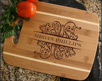 Personalized Cutting Board, Personalized Cheese Board, Custom Engraved, Bamboo Cutting Board, Wedding Gift, Housewarming Gift-Thin Stripe D4