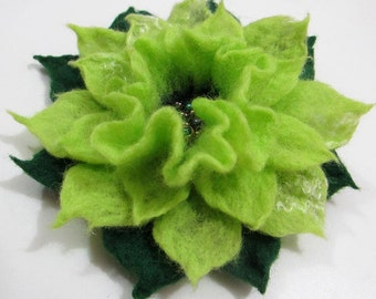 Felt flower brooch  Green  Apple Online shopping for Brooches and Pins from a great selection of felt Jewelry on etsy .