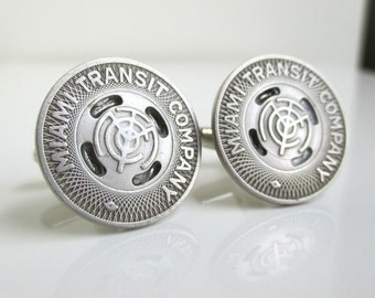 MIAMI Transit Token Cuff Links - Vintage Repurposed Coins