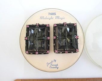Sarah Coventry Midnight Magic Earrings in Original Packaging - 1950's