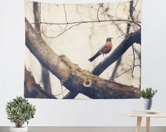 Wall Tapestries - Robin Red Breast - Tapestry - Wall Hanging - Wall Tapestry Art - Nature Wall Tapestry - Home Decor - Bird - Wall Decor