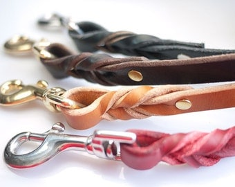 Leather Dog Leash 4ft 5ft Custom Length - Braided Leather Leash | 4 Colors - Strong Leather Leash - Black Leather Dog Leash - Brown Tan Lead