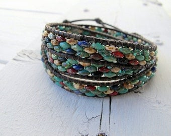 Triple Wrap Bracelet, Picasso Bead Wrap, Bohemian Bijoux, Festival Fashion Boho Hippie Chic, Rustic Color Mix, Superduo