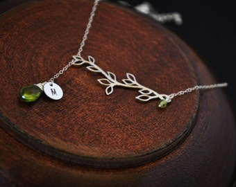 Personalized Branch Lariat Necklace/ Custom Initial Necklace/ Monogrammed Necklace/ August Birthstone Necklace/ Peridot Lariat Necklace