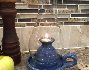 Pottery Oil Lamp in Deep Blue