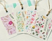 Vintage linens gift tags