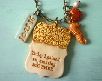 Today I gained an amazing MOTHER, Quote Necklace, Mother of the Groom, Custom, MOG gift, bride to Mother in Law, Sunflower, Seahorse, Date