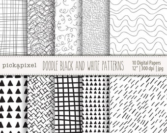 Black and White, Hand Drawn, Paper Pack, Digital Papers, Geometric Patterns, Graphic Patterns, Commercial Use