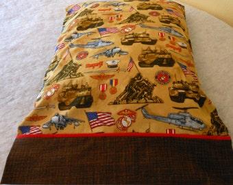 Pillow Case Marines on Khaki
