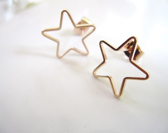 Rose Gold Star Earrings, Modern, Everyday Earrings, Post style, Minimilist Jewelry, Redpeonycreations