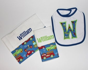 Personalized Baby Boy set INCLUDES Bib and 2 Burp Cloths - Blue, Green, Red - Trucks, Trains and Cars